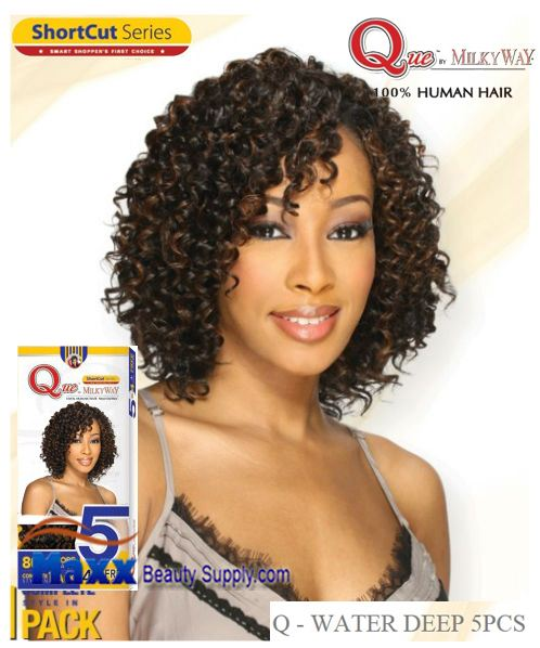 MilkyWay Que Human Hair Weave Short Cut Series - Q-Water Deep 5pcs